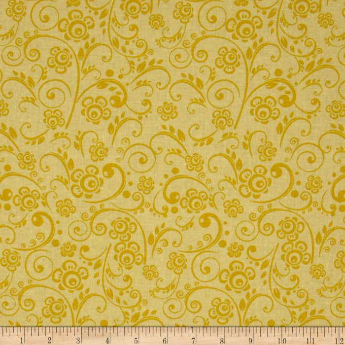"108"" Wide Quilt Back Floral Swirl Yellow"