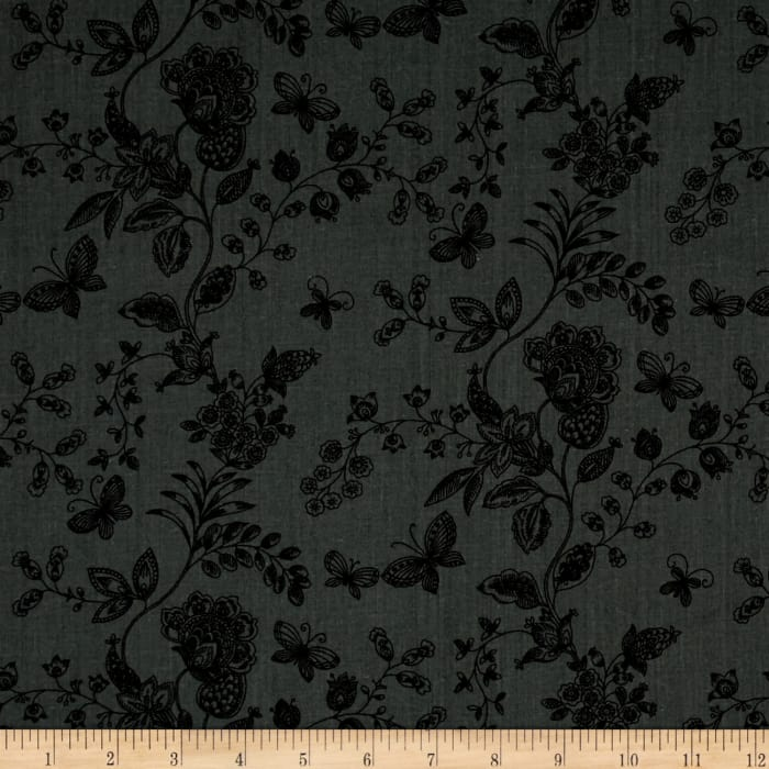 """108"""" Wide Quilt Back Floral Butterfly Grey"""