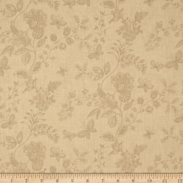 """108"""" Wide Quilt Back Floral Butterfly Cream"""