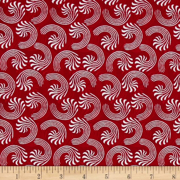 Seasons Greetings Candy Cane Swirls Red