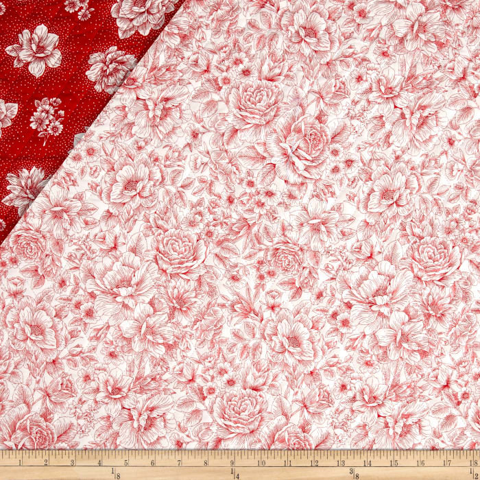 Opposites Attract Double Sided Quilted Toile Red/White