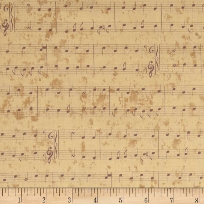 Christmas Wishes Stripe Musical Notes Cream