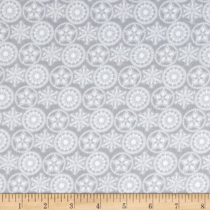 Holiday Frost Flannel Snowflakes Gray