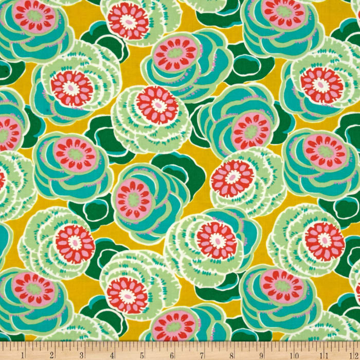 Amy Butler Dream Weaver Clouded Floral Ochre