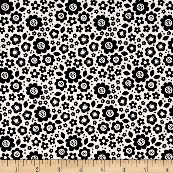 Riley Blake Dot & Dash Flowers White