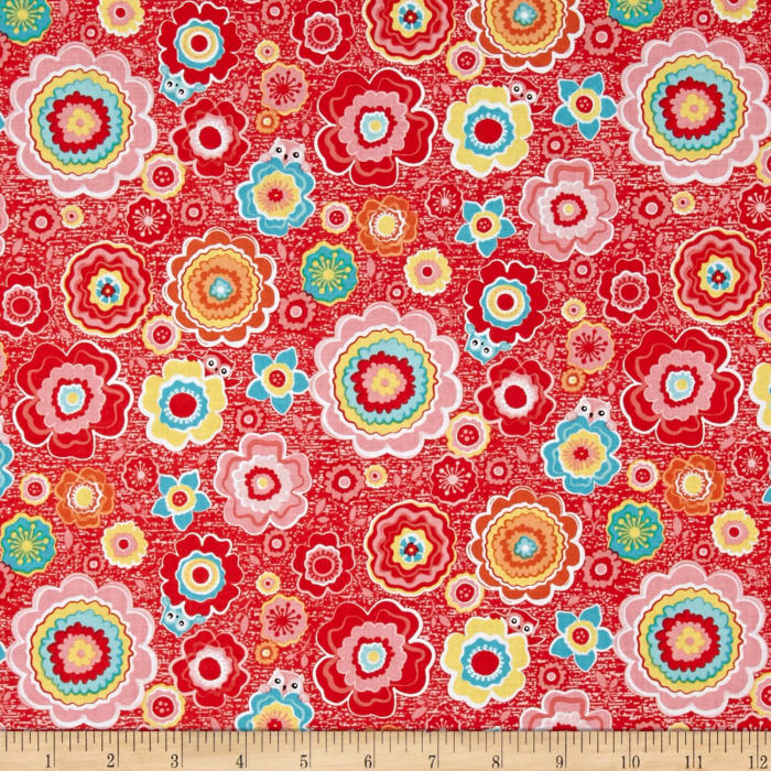 Riley Blake Tree Party Floral Red