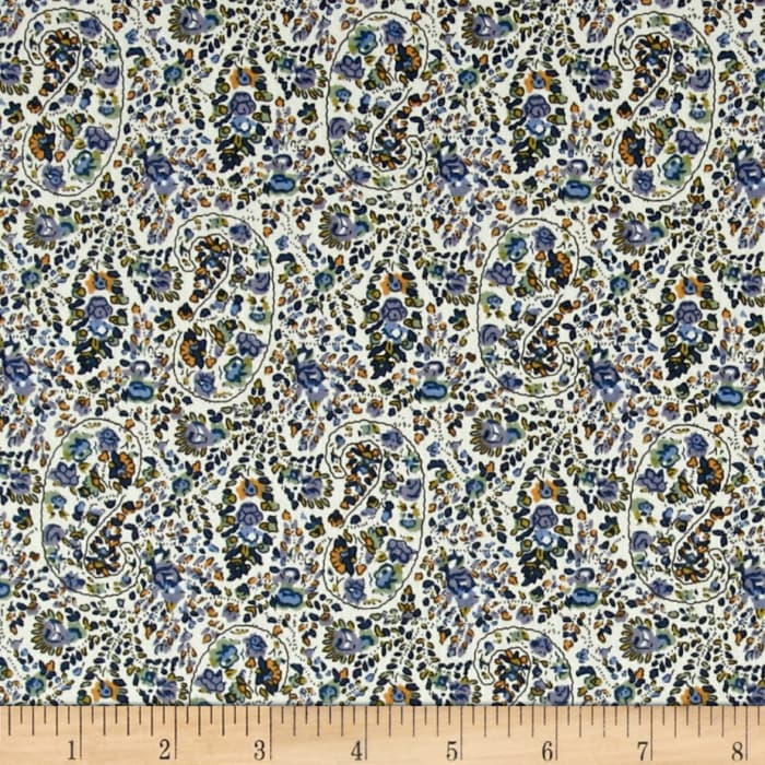 Telio Hampton Court Cotton Poplin Paisley Blue