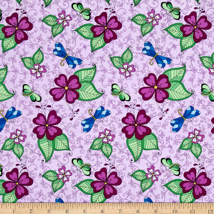 Day Of The Dragonfly Med. Floral With Butterfly & Dragonfly Lilac