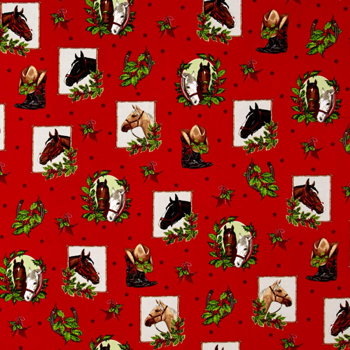 Kaufman Holly Jolly Christmas 5 Cowboy Collage Red
