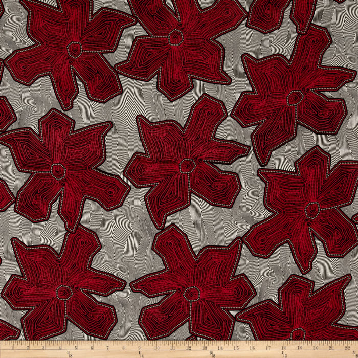 Poly Challis Abstract Floral Print Red/Black/Ecru