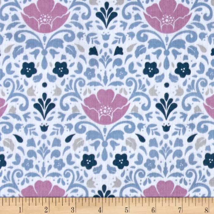 Ethereal Double Gauze Floral Damask Orchid