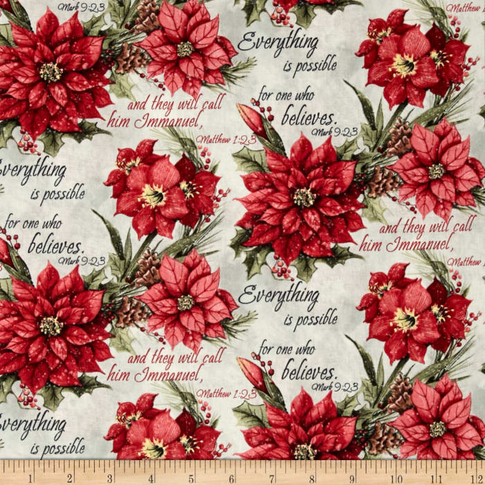 Susan Winget Old World Christmas Poinsettia Scripture Multi