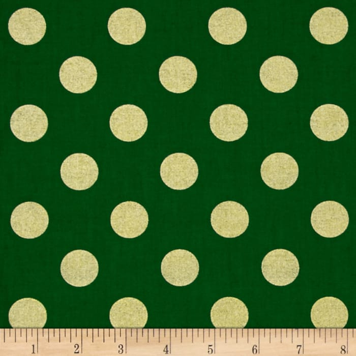 Michael Miller Holiday Glitz Quarter Dot Spearmint