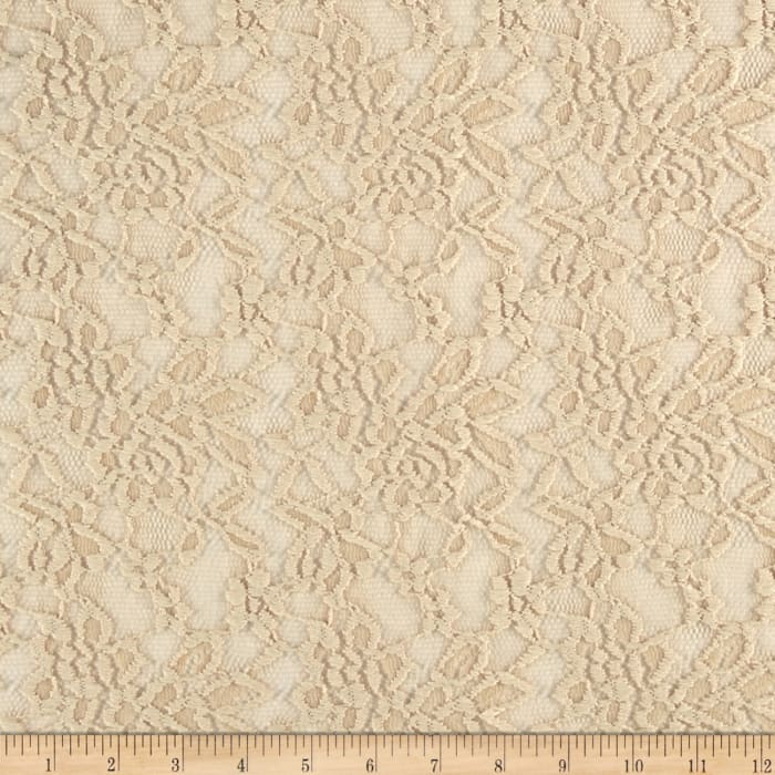 Stretch Floral Lace Golden Ivory