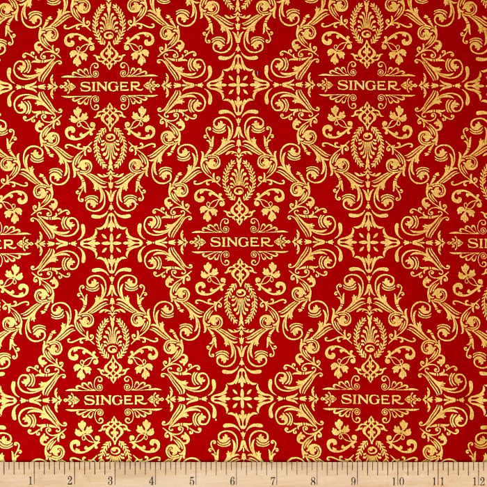 Kaufman Sewing With Singer Metallic Medallion Red