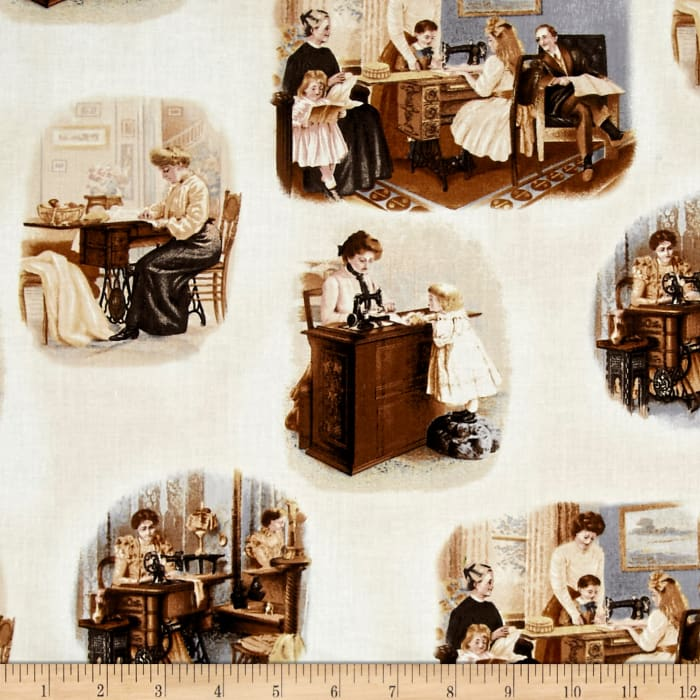 Kaufman Sewing With Singer Tossed Scene Sepia