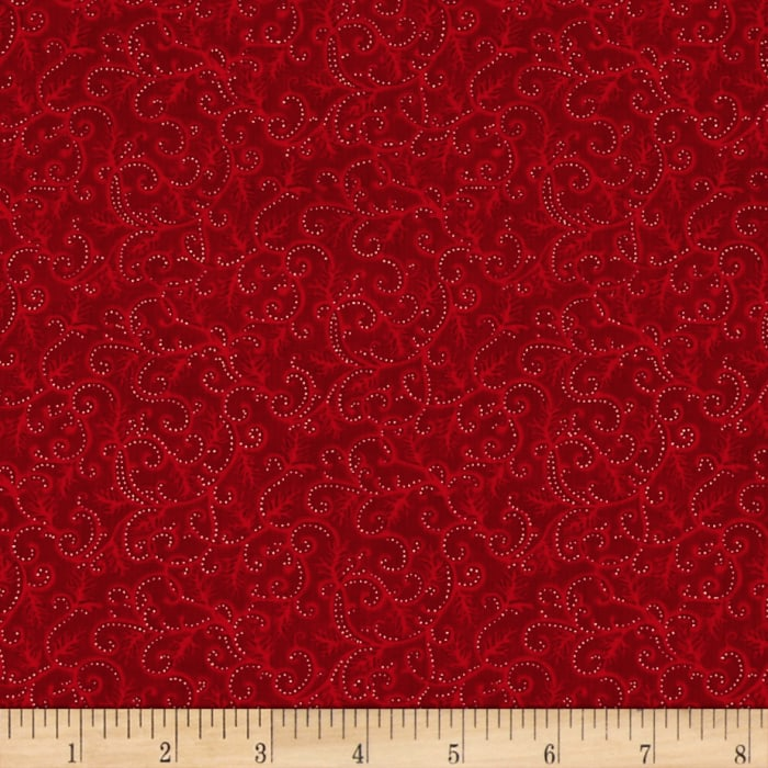 Moda Holly Night Metallic Icy Swirls Crimson