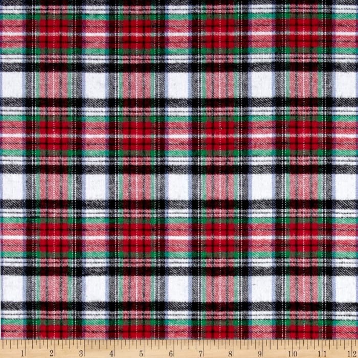 Yarn Dyed Flannel Plaid Red White Black