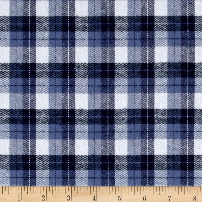Yarn Dyed Flannel Plaid Blue White