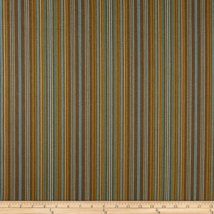 Ansley Home Decor Cotton Duck Stripe Chocolate Blue