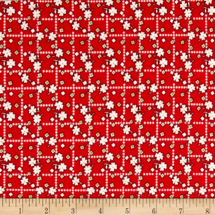 Storybook Flannel Diamonds And Daisies Red