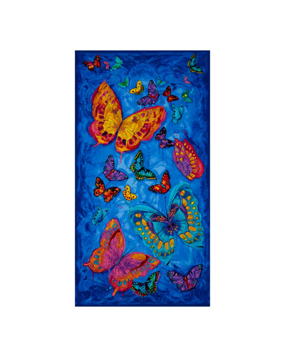 """Timeless Treasures Monterey 24"""" Butterfly Panel Blue"""