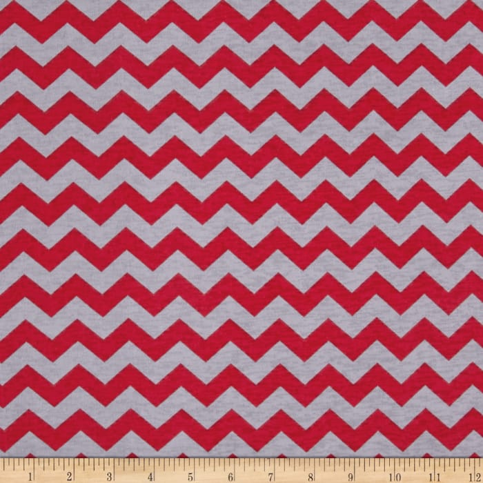 Stretch ITY Knit Zig Zag Red/Grey
