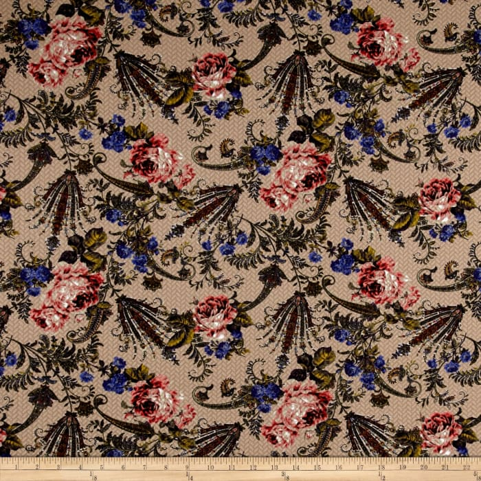 Quilted Knit Techno Floral Tan