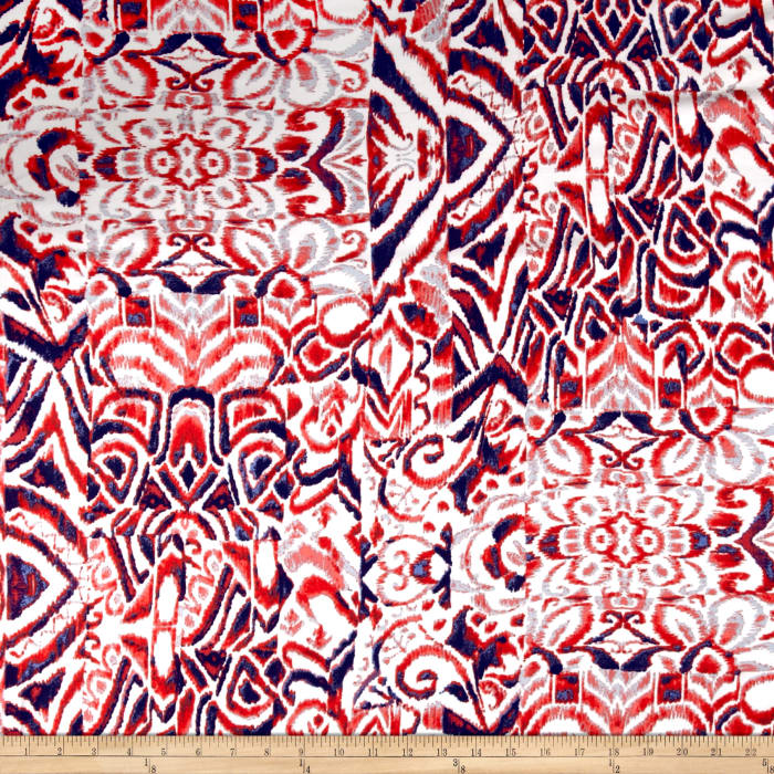 Floral Collage Rayon Lawn Red/Navy