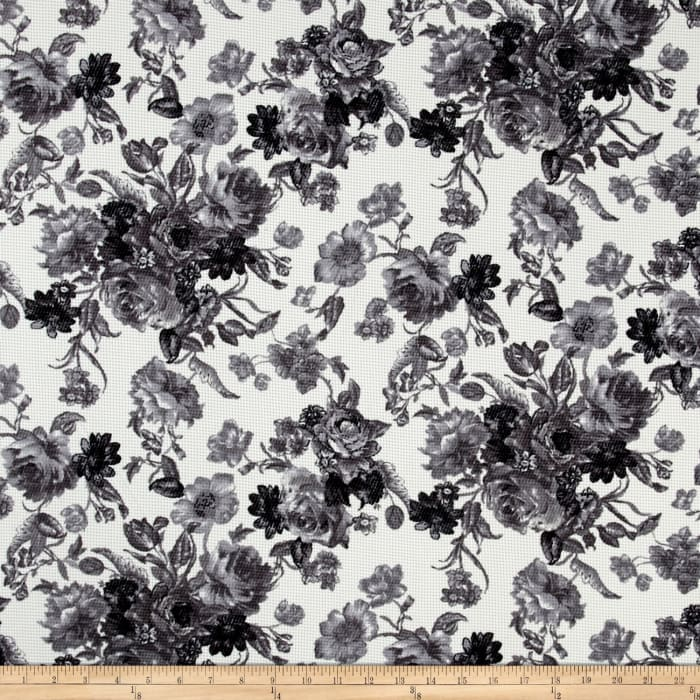 Romantic Floral Pique Knit Print Ivory/Black