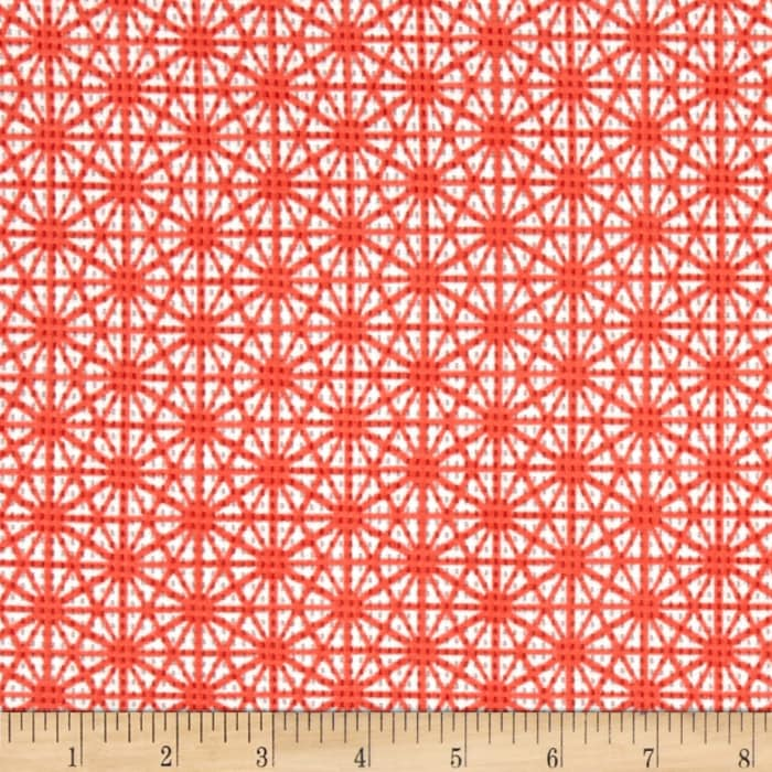 Daisy Printed Knit Pique Coral/Ivory