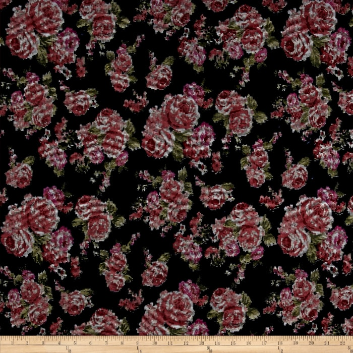 Crinkle Rayon Challis Tapestry Floral Navy