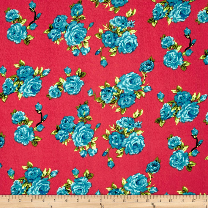 Liverpool Double Knit Print Floral Coral ground/Lime/Ocean Blue
