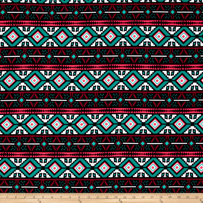 Liverpool Double Knit  Print Aztec Hot Neon Pink/ Sea Green/ Burgundy/ White