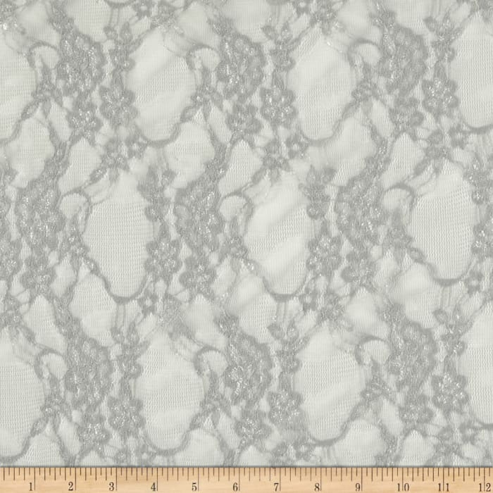 Giselle Stretch Floral Lace Silver