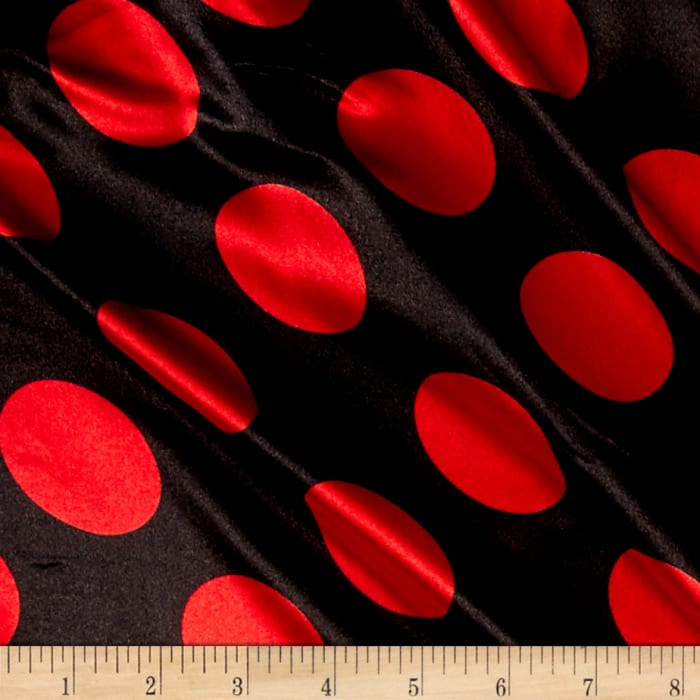 Charmeuse Satin Polka Dot Black/Red