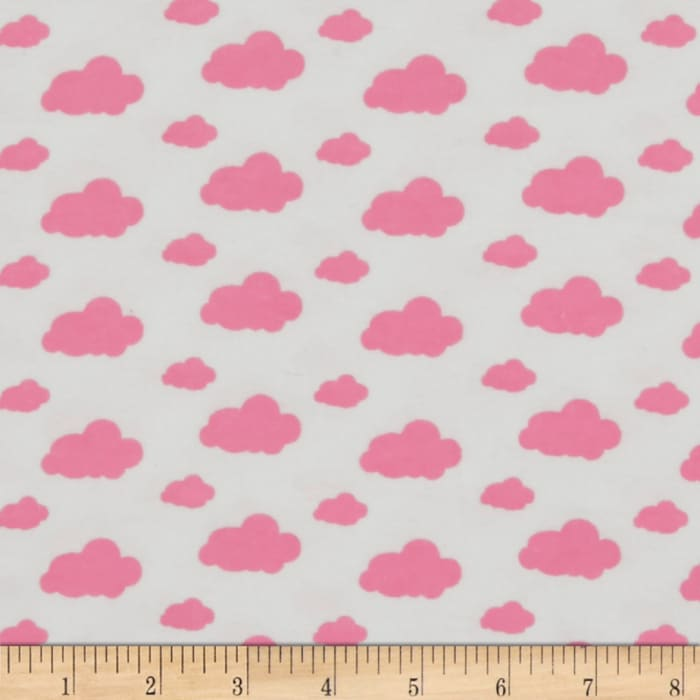Dreamy Clouds Flannel White/Pink Carnation