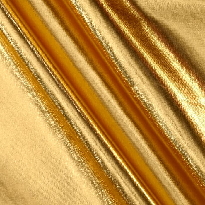 Foil lame knit spandex gold discount designer fabric for Apparel fabric