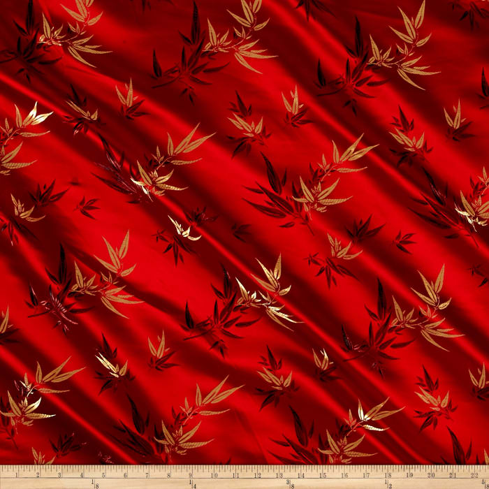 Chinese Brocade Sateen Bamboo Red Discount Designer