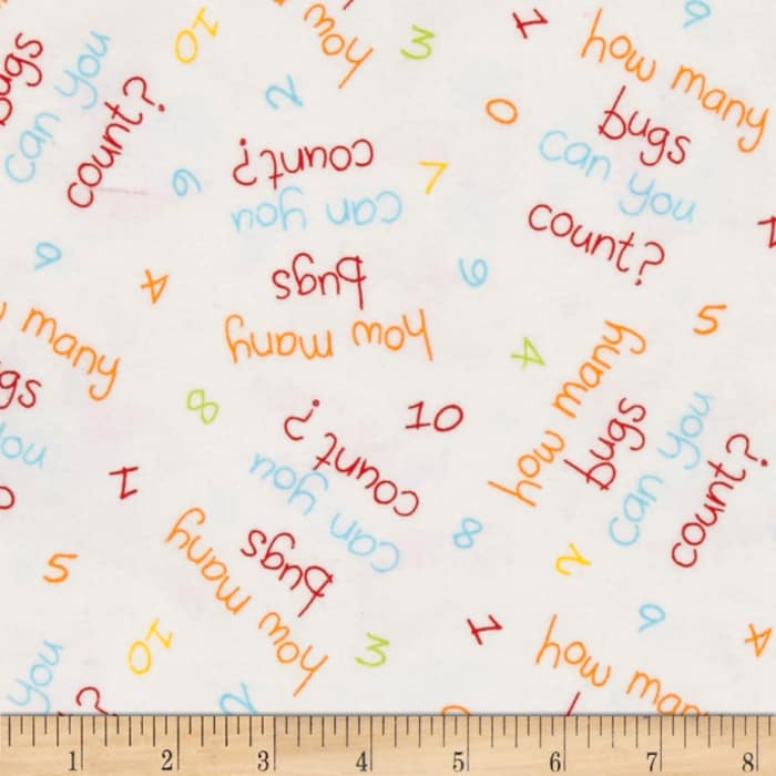 Comfy Flannel Words & Numbers White