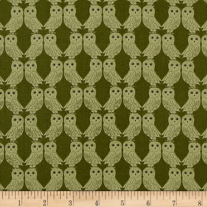 Enchanted Forest Owls Green
