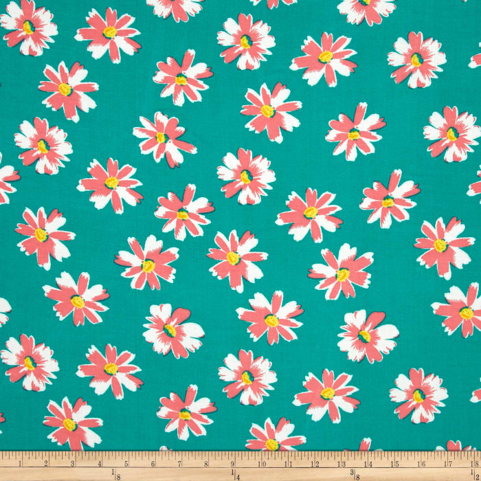 Rayon Challis Sweet Daisy Teal/Hot Pink