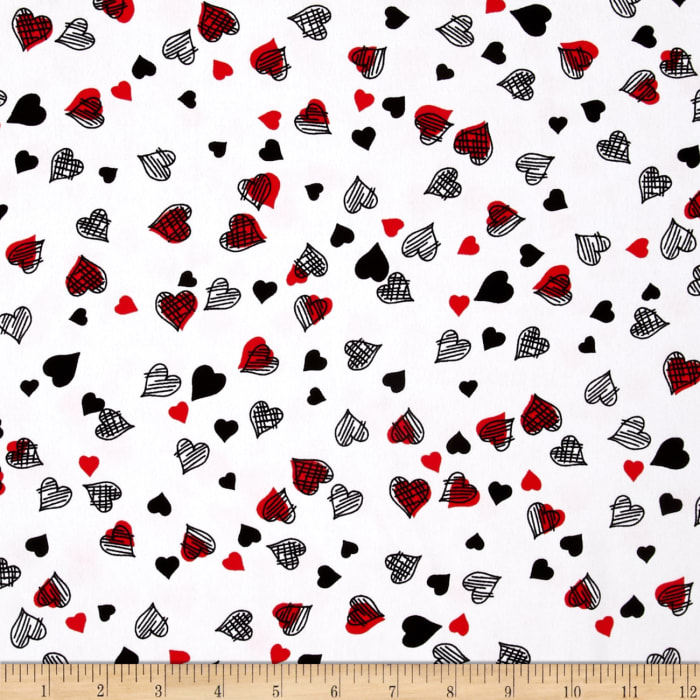 Crepe Shirting Hearts Black/White/Red