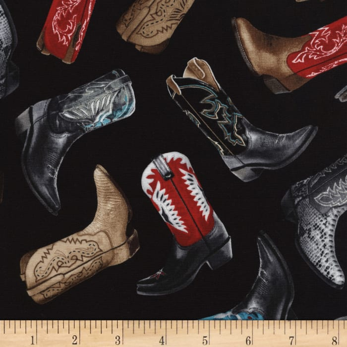 Timeless Treasures Tossed Cowboy Boots Black