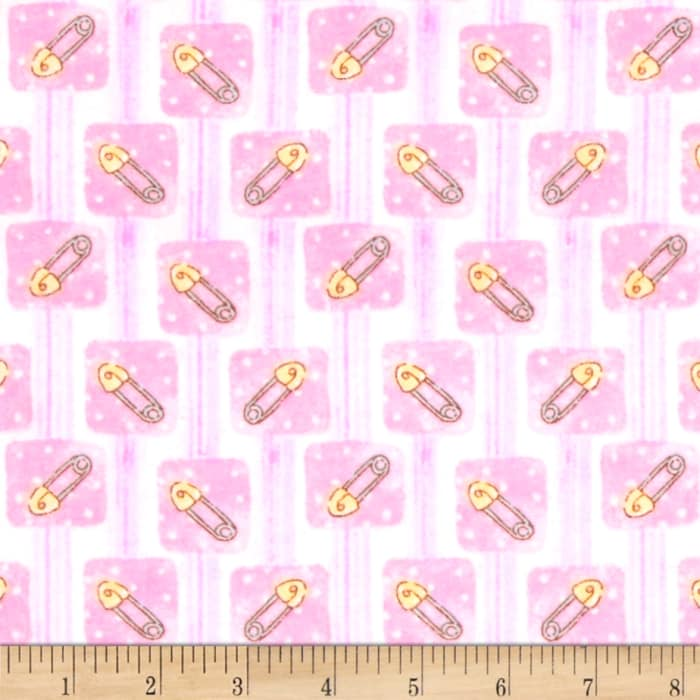 Bedtime Bears Sweet Safety Pins Flannel Pink/Magenta