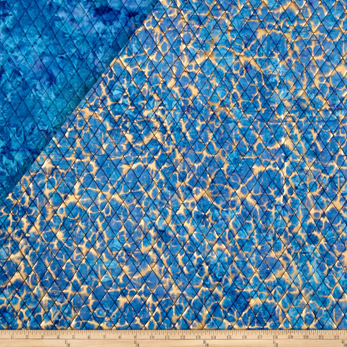 Indian Batik Double Face Quilted Metallic Crackle Gold