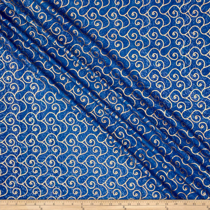 Indian Batik Montego Bay Gold Scroll Royal