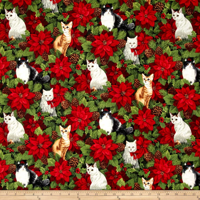 Alexander Henry Christmas Time Winter Whiskers Green
