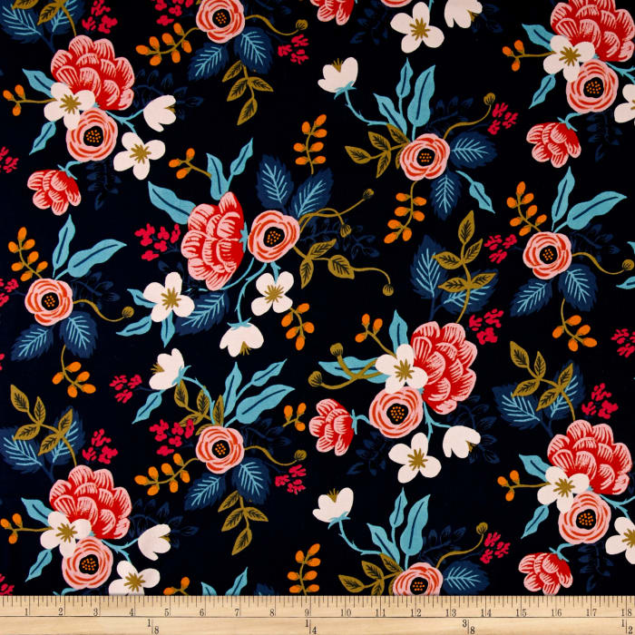 Cotton + Steel Rifle Paper Co. Les Fleurs Rayon Challis Birch Floral Navy