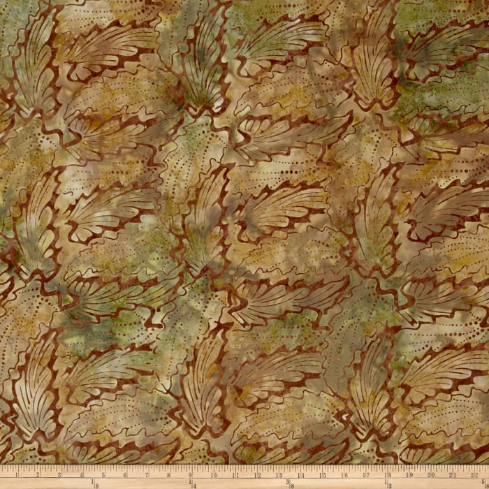 Indonesian Batik Abstract Floral Light Brown